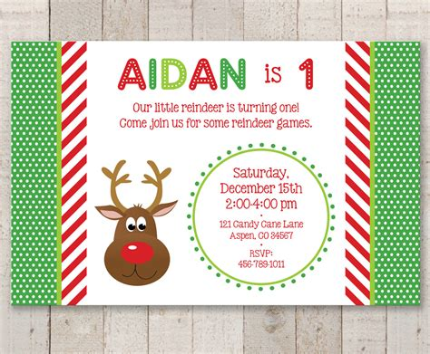 reindeer st birthday invitations holiday winter