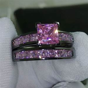 Sz 5 10 princess cut pink sapphire 10kt black gold filled for Blue sapphire wedding ring set