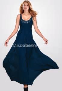costume de mariage bleu robe de bal longue taille empire bleu marine en mousseline