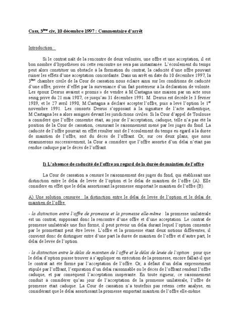 cour de cassation chambre civile droit des obligations corrigé commentaire d 39 arrêt