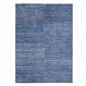 tapis bleu en viscose type kilim rectangulaire par ligne pure With tapis en viscose