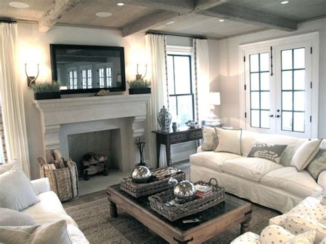 Cozy Living Room : Chic, Cozy Living Room With Framed Tv Over Stone Fireplace