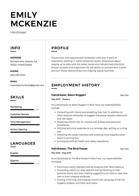 12 Free Hairdresser Resume Sample(s)  2018 (free Downloads. Resume Cpa. Dance Resume Template Free. How To Save A Resume. Sample Resume For Lecturer. Senior Hr Manager Resume Sample. New Graduate Resume Sample. Word Resume Download. Sample Resume For A Student