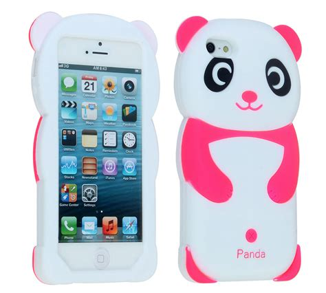 3d iphone 5s cases 3d panda silicone rubber soft cover for iphone 5 5s