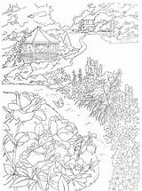 Coloring Country Scenes Gazebo Scene Paint Dover Dreamy Nature Publications Adult Colorare Printable Numbers Coloriage Pagine Paradise Sheets Paysage Flowers sketch template