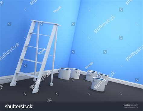 3d light blue sky wall painting ladder paint cans stock