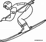Coloring Pages Skier Ski Skiing Slope Winter Clipart Supplies Template Olympics Clipground Colouring sketch template