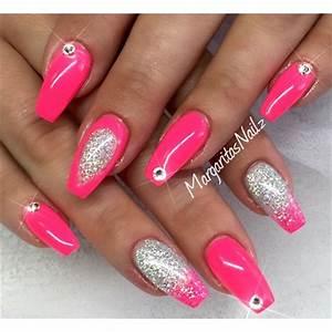 Neon Pink & Glitter Ombré Nail Art Gallery