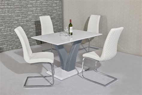 white grey high gloss dining table  white chairs