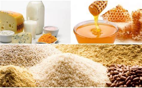 tabla calorica de cereales grasas lacteos  miel