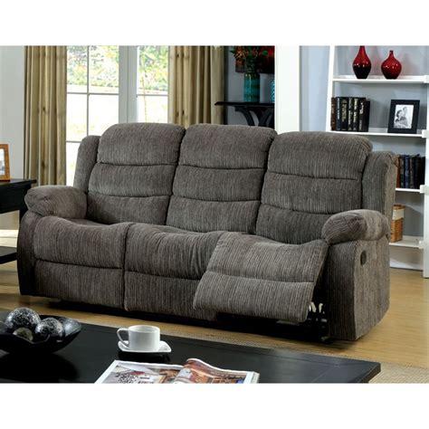 furniture  america enrique fabric reclining sofa  gray
