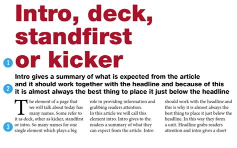 intro deck standfirst or kicker in magazine design magazine designing