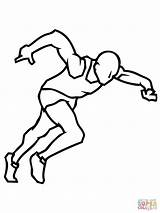 Coloring Sprinter Pages Athletes Running Athletics Printable Woman Template Super Supercoloring sketch template