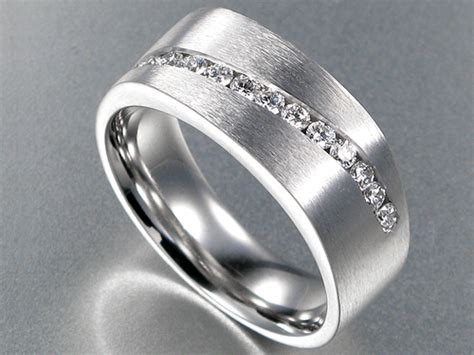 Mens 7mm Brushed Comfort Fit Wedding Band With Diamonds In