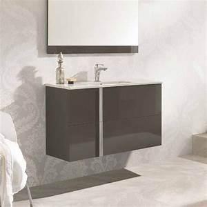 meuble salle de bain 100 cm 2 tiroirs vasque ceramique onix With plan vasque salle de bain 100 cm