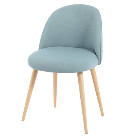 chaise bleu canard fabric and solid birch vintage chair in blue mauricette