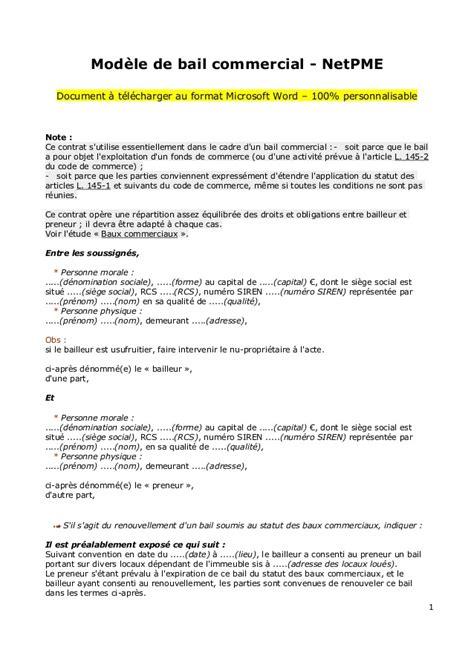 modèle de bail commercial modele bail local commercial document