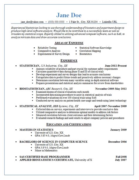 Resume Statistics statistician resume exle statistics experimental design and comparative analysis