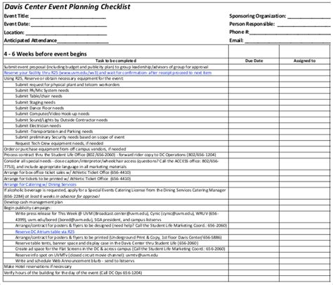 free event planning templates 15 event checklist templates pdf doc free premium templates