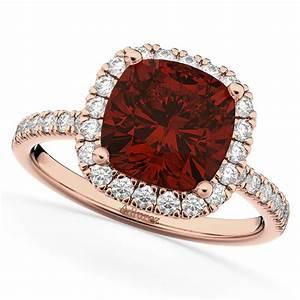 Cushion Cut Halo Garnet & Diamond Engagement Ring 14k Rose ...