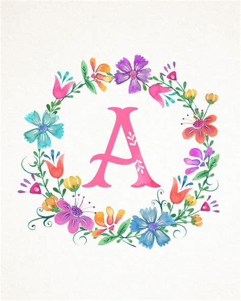 printable whimsical watercolor monograms  cottage market watercolor monogram
