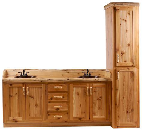 double vanity with linen cabinet timberline log vanity and linen cabinet the log