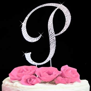 initial p cake topper letter p fully covered  swarovski crystals