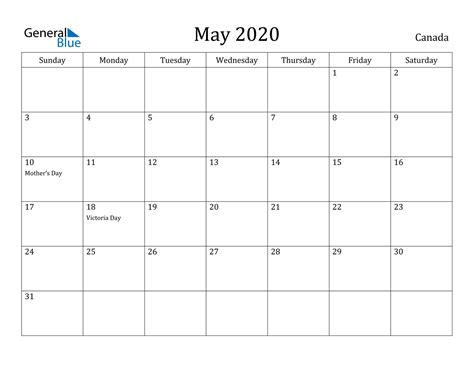 calendar canada