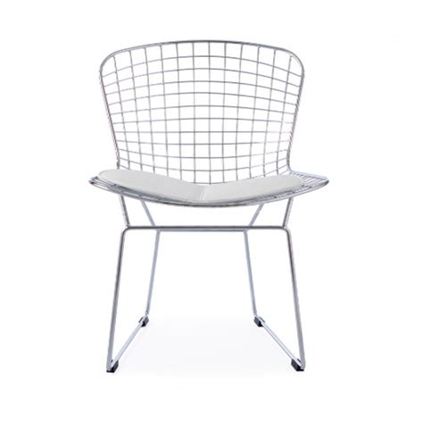 harry bertoia wire side chrome chair white cushion