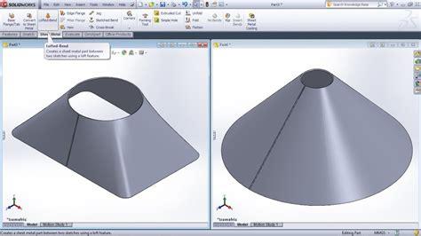 solidworks lofted bend tutorial solidworks sheet metal