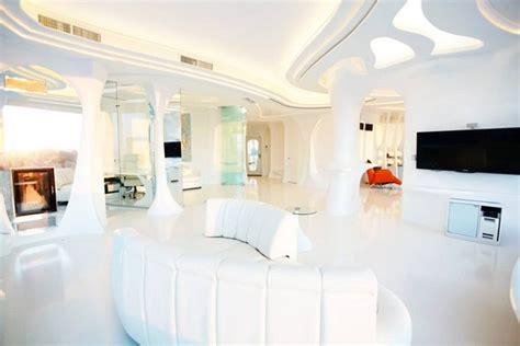 futuristis totally white apartment  panoramic windows