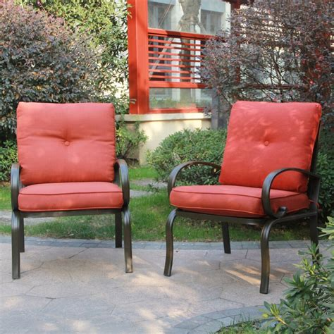 Patio Furniture Chairs by Set Of 2 Outdoor Dining Chair Patio Club Seating Chair