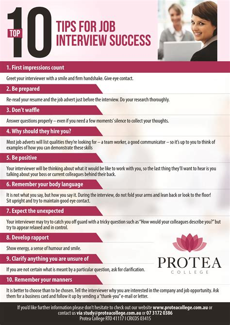 Top 10 Tips For Interview Success  Protea College