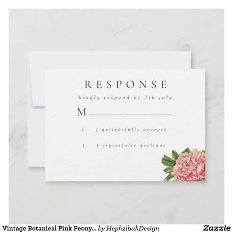 Vintage Botanical Pink Peony Watercolor Wedding RSVP Card