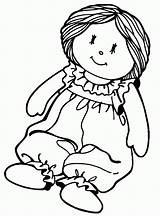 Doll Rag Toy Toys Coloring Printable Printables Clip Activity sketch template
