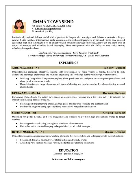 Resume Model by Sle Model Resume A Excuse For A Photograph