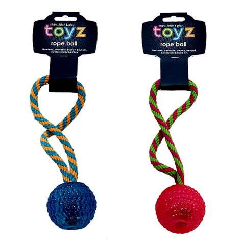 rubber toyz blue petface toyz rope fetch for dogs