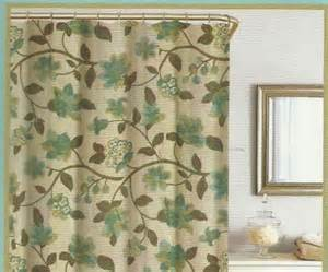Kashmir Shower Curtain by Floral Green Brown Turquoise Beige Silk Look Texture