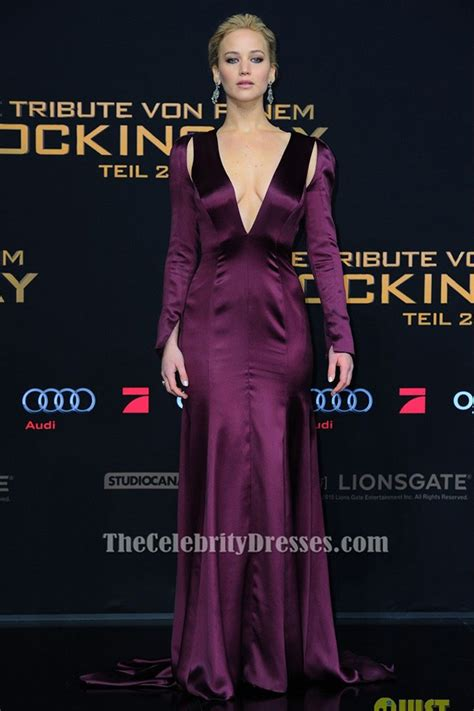 Jennifer Lawre E Purple Evening  Ee  Dress Ee   The Hungers