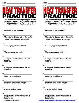 Heat Transfer Practice Worksheet By Science Teacher