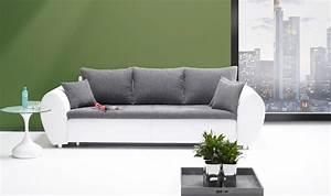 Big Sofa 250 Cm : big sofa mit schlaffunktion und bettkasten in wei mit schwarz grauem bezug r ckenecht bezogen ~ Bigdaddyawards.com Haus und Dekorationen
