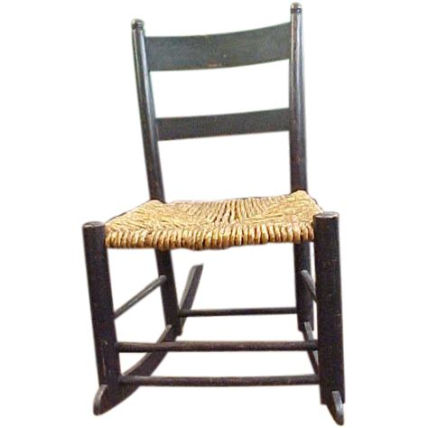 adorable child s rocker with woven rope seat from