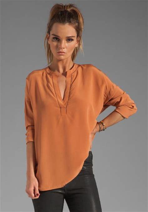burnt orange blouse vince stitch detail silk blouse in yam in orange burnt