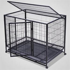 37inch heavy duty metal dog cage double door dog crates With dog cage gate