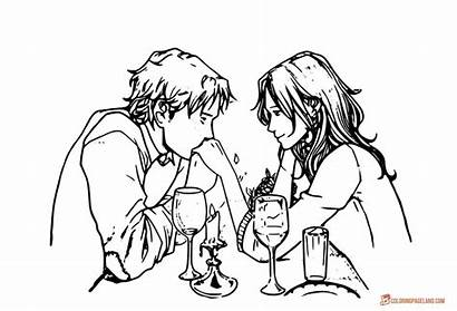 Coloring Pages Romantic Adults Dinner Kiss Printable