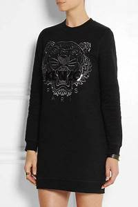 kenzo tiger embroidered cotton sweatshirt dress in black With robe kenzo tigre