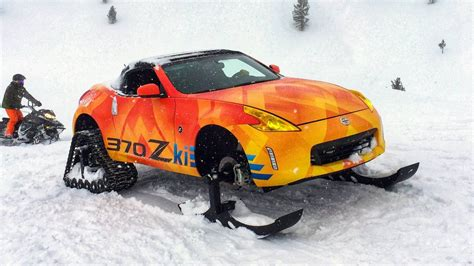 Nissan Car 370z Snow by Nissan Fits Skis And Snow Tracks To A 370z Roadster For