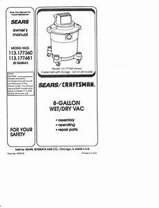 Craftsman 113177360 User Manual Wet  Dry Vac Manuals And
