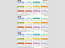 Three year calendars for 2018, 2019 & 2020 UK for PDF