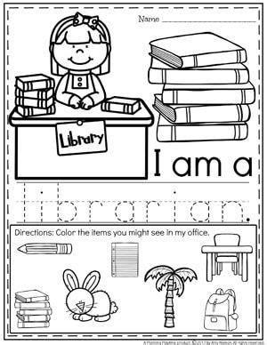 community helpers worksheets librarian pre k community